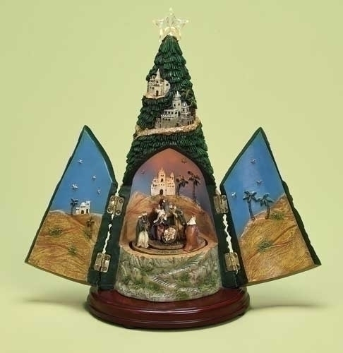 Musical 11-inch LED Nativity Tree Fig