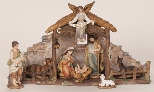4.5-inch 9Pcst Nativity With Stable