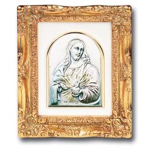 Antique Gold Leaf Resin Frame with Sterling Silver Sacred Heart of Jesus Image