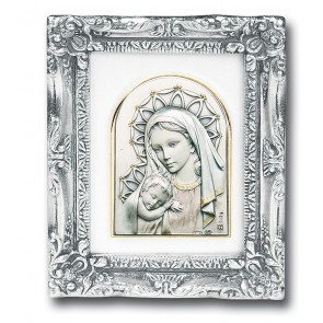Antique Silver leaf Resin Frame with Sterling Silver Madonna and Child Image