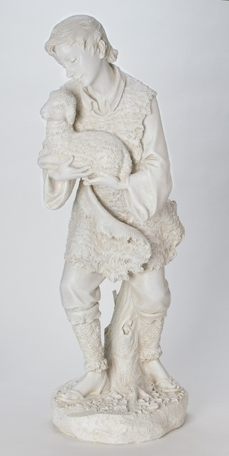 39-inch Ivory Shepherd With Sheep
