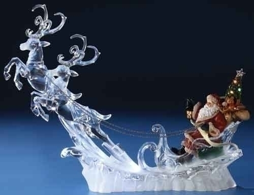 15-inch LED Santa On Sleigh With Deer