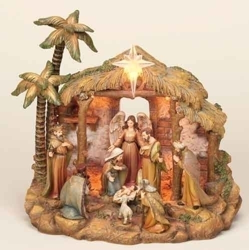 10-inch Lighted Nativity Fig