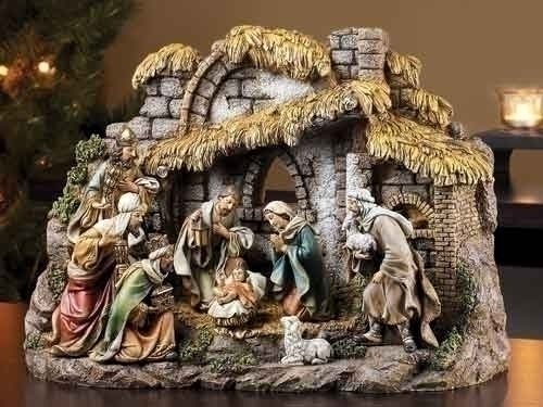 10Pc St 11-inch Nativity With Stable
