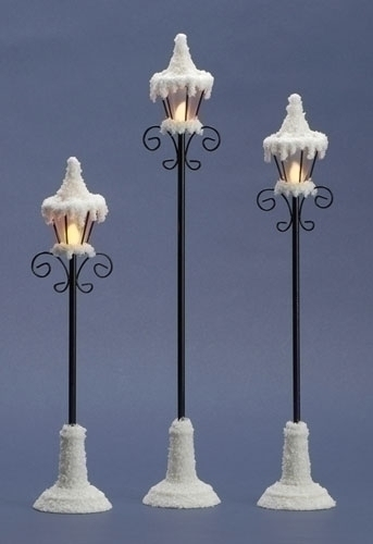 3Pc St 12-inch -16-inch H LED Lamp Post