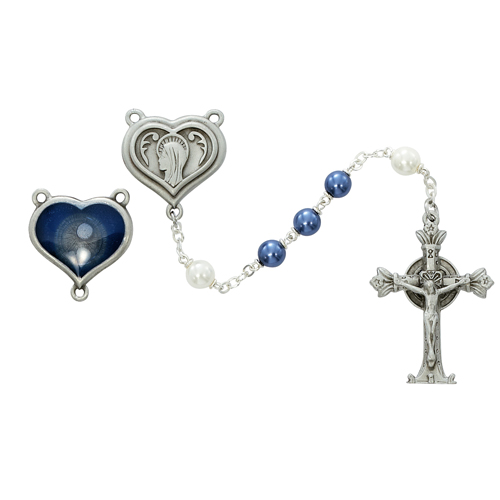7MM Pewter Blue And Pearl Rosary