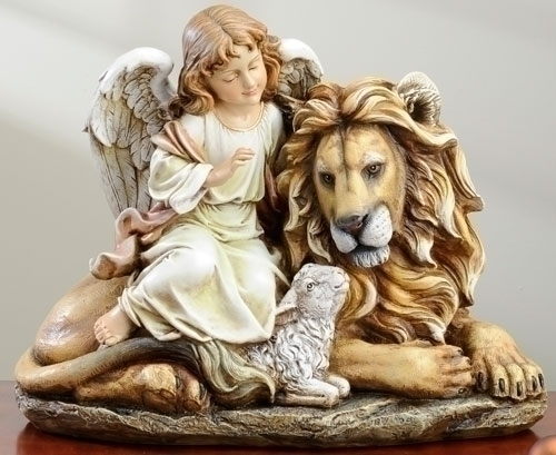 11.5-inch Lion/Lamb With Angel Fig