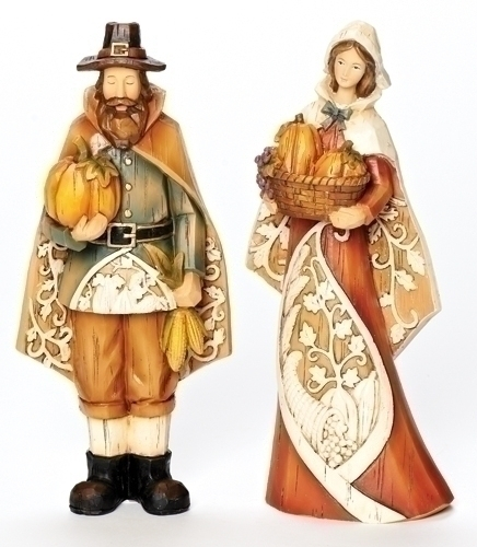 2Pc St9-inch Pilgrims Fig With Carv
