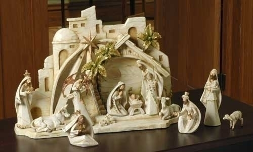 13Pc St 5-inch Nativity Fig With 11-inch
