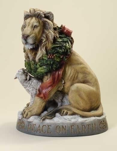 19.25-inch Lion & Lamb Statuary