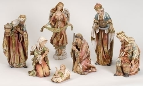 7Pc St 20-inch Nativity & Angel