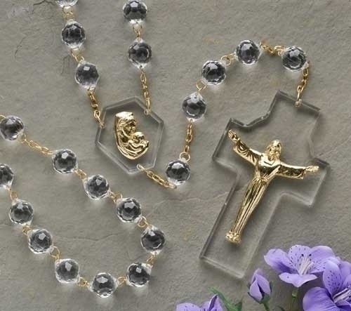 54-inch Crystal Wall Rosary Boxed