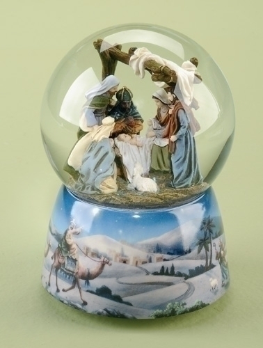 Musical 6-inch Nativity With Canopy Glittr