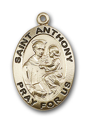14K Gold St. Anthony of Padua Pendant - Engravable