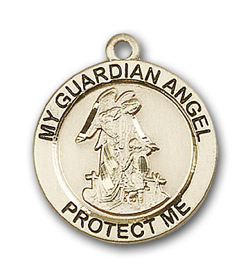 14K Gold Guardian Angel Pendant - Engravable