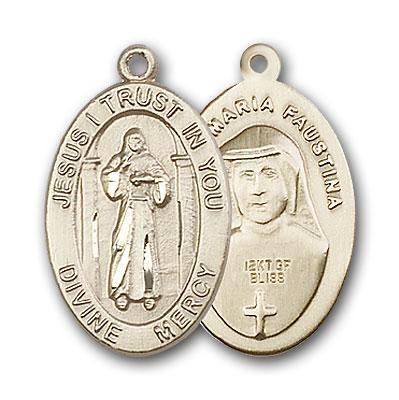 14K Gold Divine Mercy Pendant