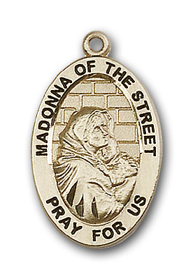 14K Gold Madonna of the Street Pendant - Engravable