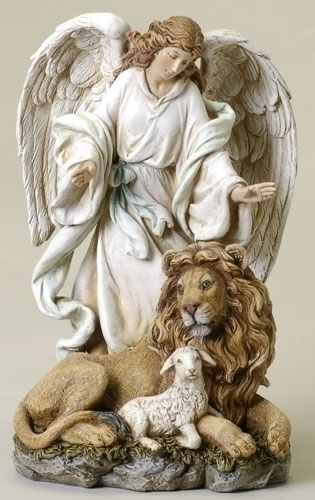9.5-inch Angel With Lion & Lamb Fig