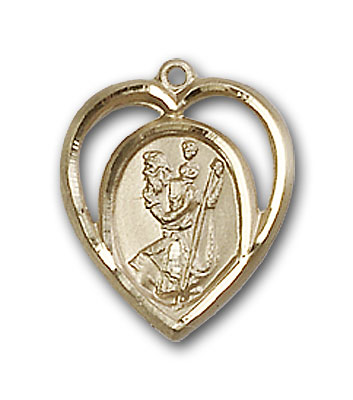 14K Gold St. Christopher Pendant - Engravable
