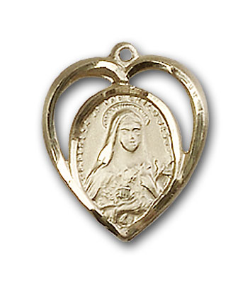 14K Gold St. Theresa Pendant - Engravable