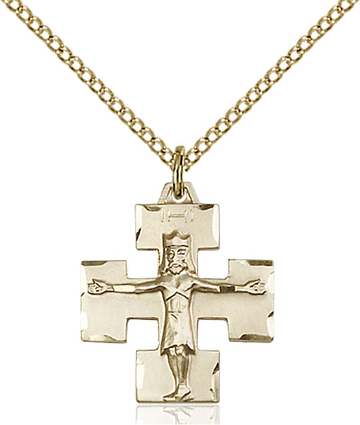 Gold-Filled Modern Crucifix Pendant