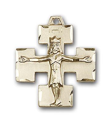 14K Gold Modern Crucifix Pendant