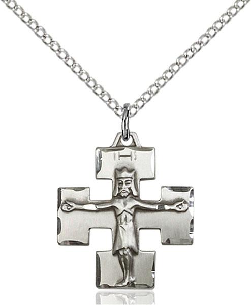 Sterling Silver Modern Crucifix Pendant