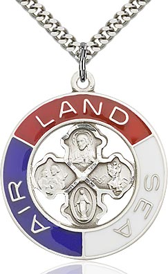 Sterling Silver Land, Sea, Air Keychain