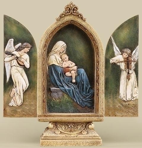 Seated Madonna/Child Triptych