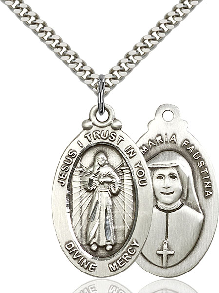 Sterling Silver Divine Mercy Pendant