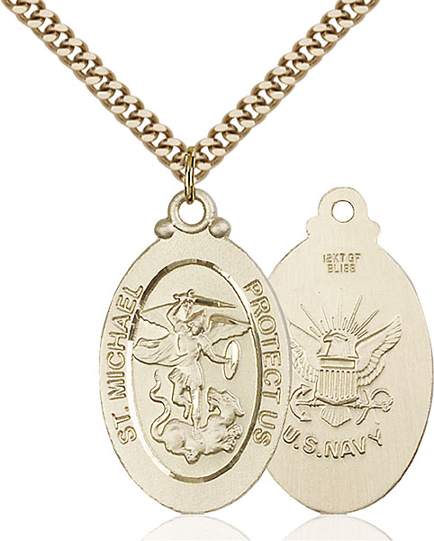 Gold-Filled St. Michael / Navy Pendant