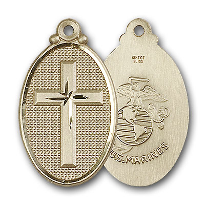 14K Gold Cross / Marines Pendant