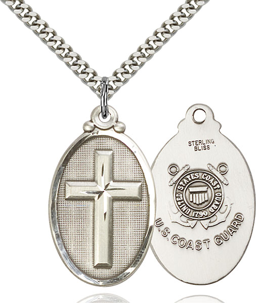Sterling Silver Cross / Coast Guard Pendant
