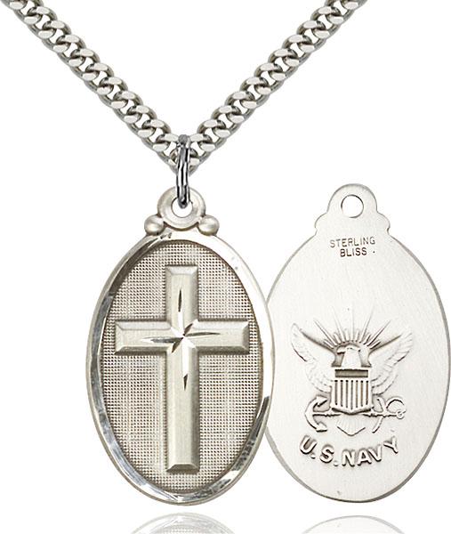 Sterling Silver Cross / Navy Pendant