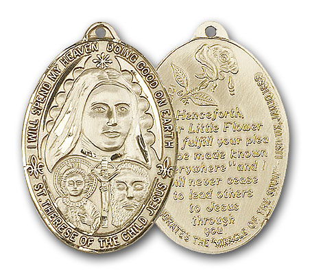 14K Gold St. Therese Pendant - Engravable