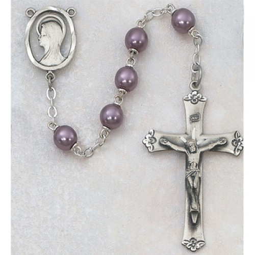 Sterling Silver 7MM Violet Pearl Rosary