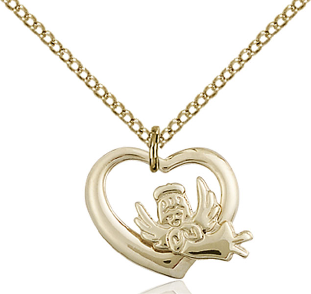 Gold-Filled Heart / Guardian Angel Pendant