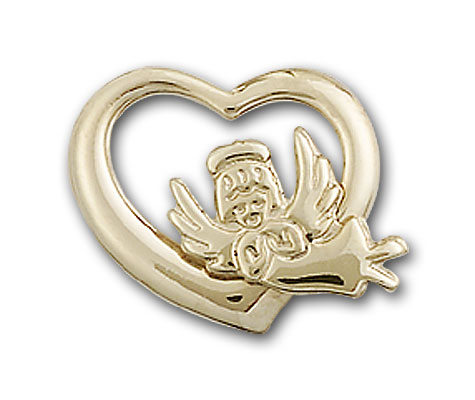 14K Gold Heart / Guardian Angel Pendant
