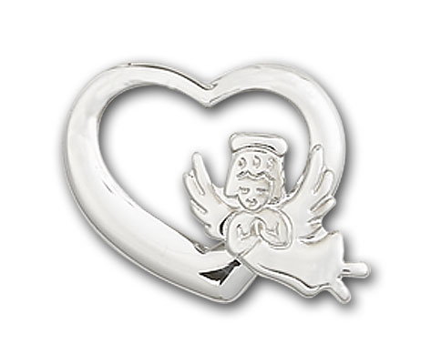 Sterling Silver Heart / Guardian Angel Pendant