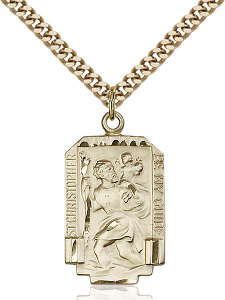 Rectangular Gold-Filled St. Christopher Pendant - Engrave it!
