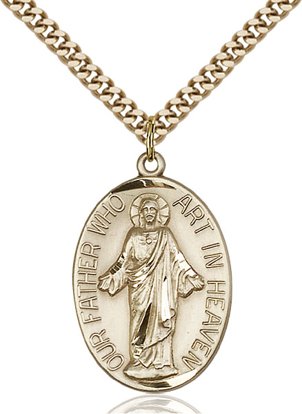 Gold-Filled Our Father Pendant