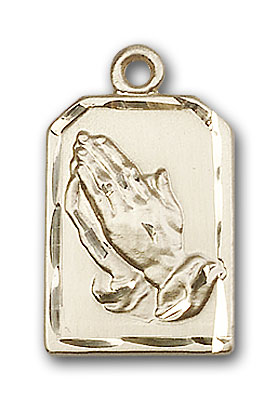 14K Gold Praying Hands Pendant
