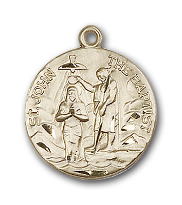 14K Gold St. John the Baptist Pendant - Engravable