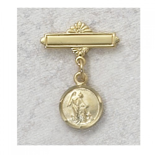 Gold over Silver Guardian Angel Baby Pin