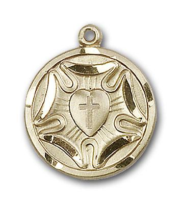 14K Gold Lutheran Pendant - Engravable