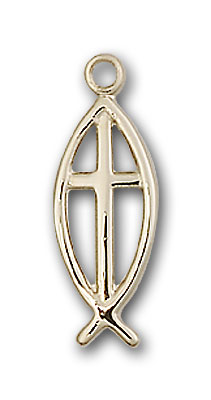 Gold-Filled Fish / Cross Pendant