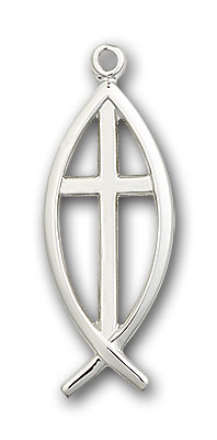Sterling Silver Fish / Cross Pendant