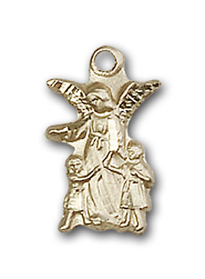 14K Gold Guardian Angel Pendant