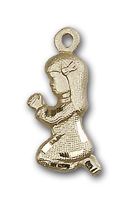 14K Gold Praying Girl Pendant