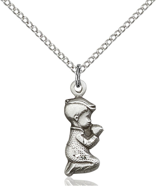 Sterling Silver Praying Boy Pendant
